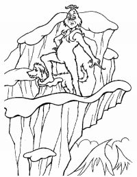 Grinch on Mount Crumpit with Max dog Coloring Page