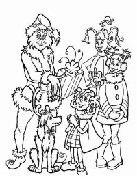 Grinch gives children a Christmas gift Coloring Page