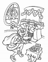 Grinch stole Christmas gift next fireplace Coloring Page