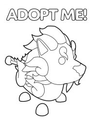 Guardian Lion in Adopt me glows horns, tail, mane, and paws Coloring Page