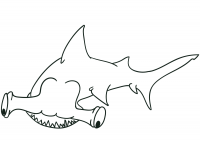 Hammerhead shark up side down under the sea Coloring Page