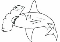 Hammerhead shark has a hammer-like shape Coloring Page