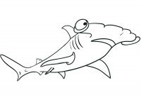 Silly hammerhead shark has big round eyes Coloring Page