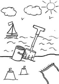 The boat on the sea at sunset Coloring Page