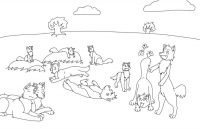 Pack of wolves in peaceful morning Coloring Page