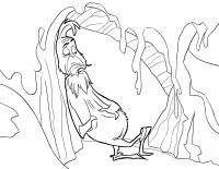 The old Grinch stands against a cliff Coloring Page