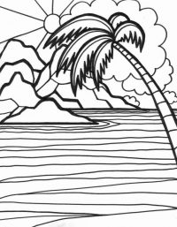 Sunset scene on the beach Coloring Page