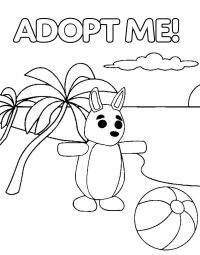 The Kangaroo from Adopt me plays ball at the beach Coloring Page