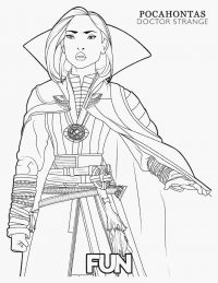 Clea from Doctor Strange movie wears a powerful stone Coloring Page