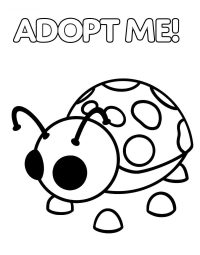 Ladybug glows on its spots, antennae, wings and feet in Adopt me Coloring Page