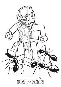 Ant-man Lego tries to kill some black ants Coloring Page