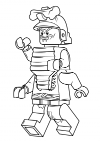 Lord Garmadon has a silver samurai helmet with a bone on it Coloring Page