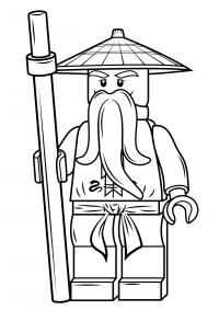 Lego Ninjago Master Wu has long beard Coloring Page