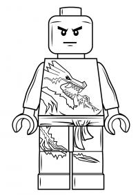 Ninjago Zane wears suit printed dragon on it Coloring Page