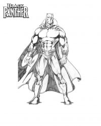 Strong Superhero Black Panther wears his cloak Coloring Page