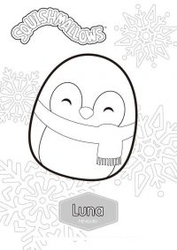 Happy Luna the Penguin from Squishmallow Coloring Page