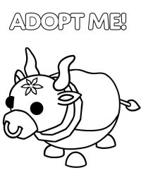 The Luna Ox has a ring in its nose from Adopt me Coloring Page
