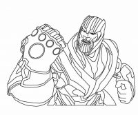 Marvel Villain Thanos wears warrior cap has six Infinity Gems Coloring Page