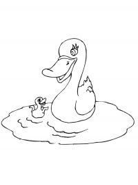 Mother duck with baby play in the pond Coloring Page