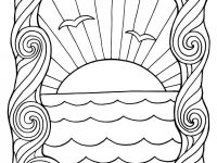 Seagulls in the sunset  Coloring Page