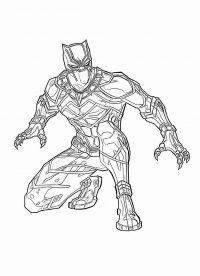 Black Panther wears Antarctic Vibranium armor Coloring Page