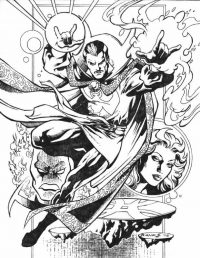 Dr.Strange uses magical spells to kill enemies Coloring Page
