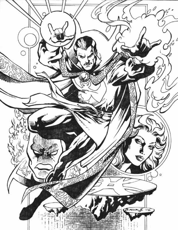 Dr.Strange uses magical spells to kill enemies Coloring Pages