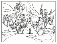 Residents of Whoville prays for Christmas Coloring Page