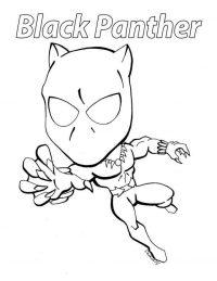 Chibi Black Panther catches something Coloring Page