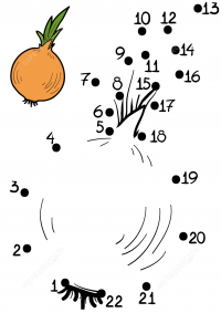 Onion vegetable connect the dots Coloring Page