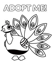 The Peacock features a colorful bird in Adopt me Coloring Page