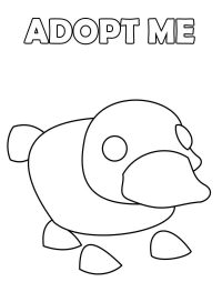 The Platypus in Adopt me has floppy feet and a flat, wide tail Coloring Page