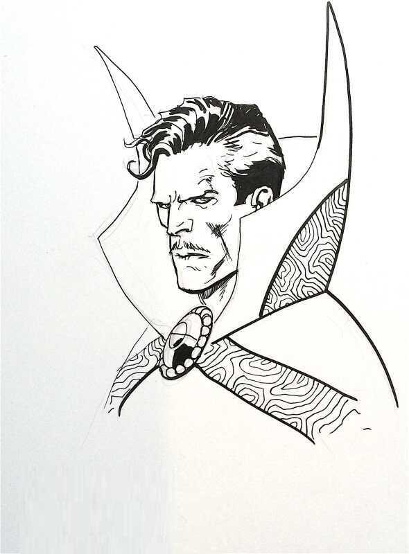 Portrait of Stephen Strange from the Avengers movie Coloring Page
