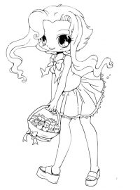 Chibi girl has long and curly hair with blanket of candy Coloring Page