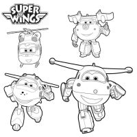 Jett, Dizzy, Donnie and Mira in Galaxy Team from Super Wings Coloring Page