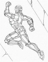 Superhero Iron man running marathon competition Coloring Page
