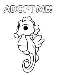 Seahorse from Adopt me has elongated snout and its tail curves towards its body Coloring Page