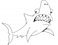 Cartoon shark has spiked and protruding teeth Coloring Page