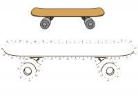 Drawing connect the dots Skateboard Coloring Page