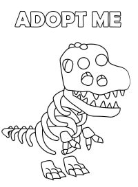 Bony figure of Skele-Rex from Adopt me Coloring Page