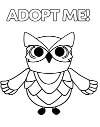 Adopt me Snow Owl has big, round and black eyes Coloring Page
