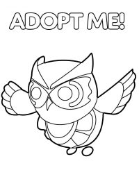 Snow Owl from Adopt me floats up and down and flaps its wings Coloring Page