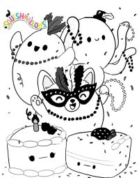 Squishmallow animals dances in party Coloring Page