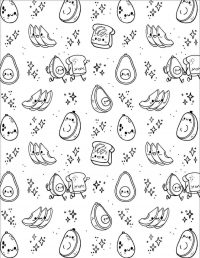 Chibi fruit shape in Squishmallow Coloring Page