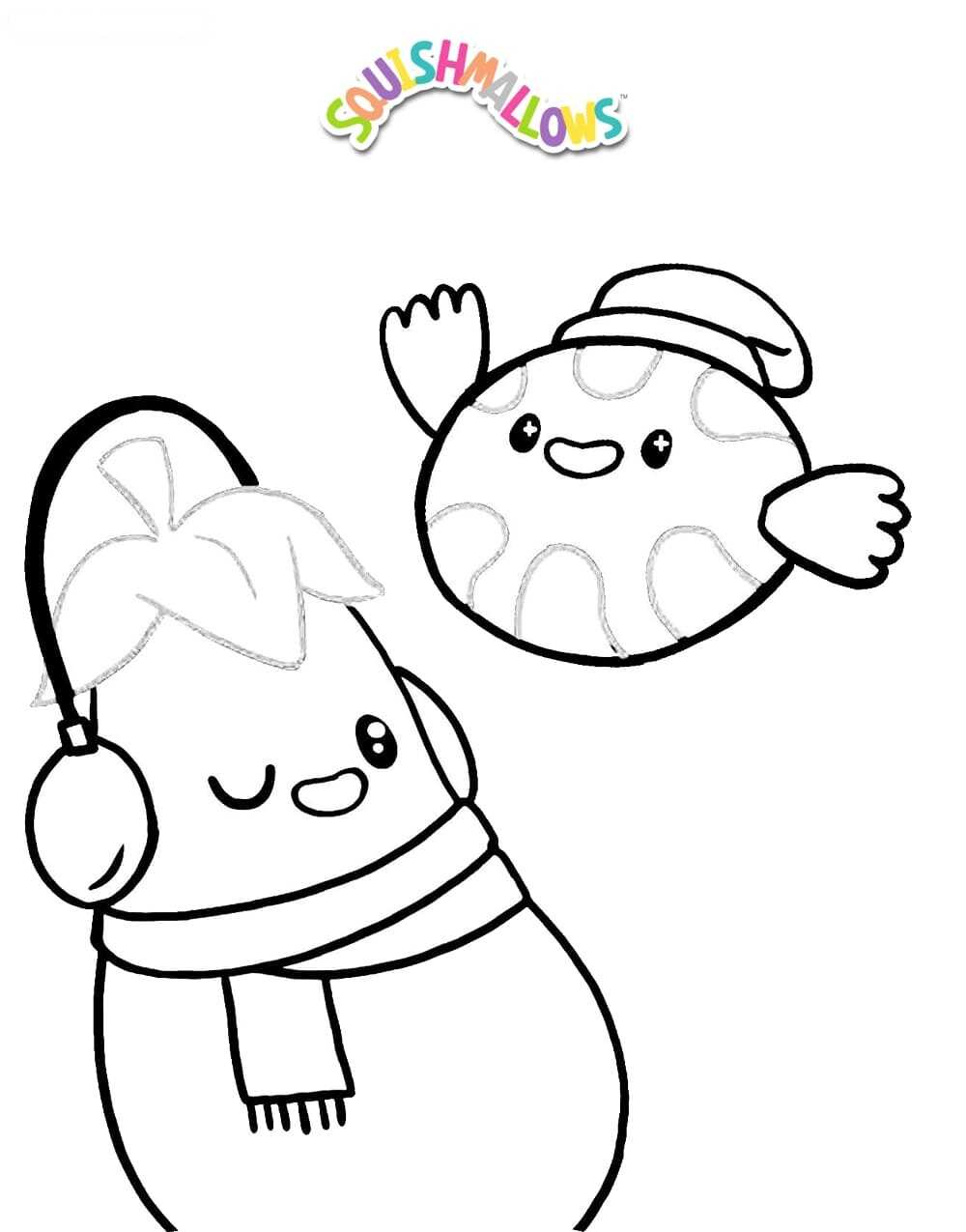 Eggplant and Chuck the Chick from Squishmallow Coloring Pages