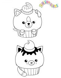 Two Cats in Cupcake from Squishmallow Coloring Page