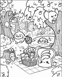 Squishmallow animals go camping in the forest Coloring Page