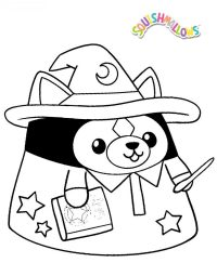 Squishmallow Bear in Halloween costume Coloring Page
