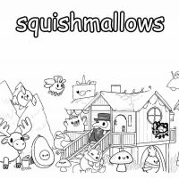 Squishmallow animals in the party  Coloring Page