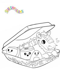 A box of Delicious Squishmallow Sushi Coloring Page